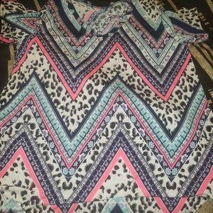 Tops - Blue pink leopard shirt